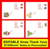 Christmas Thank You Notes or Holiday Cards : 30 EDITABLE Notes  + Rec'dg List