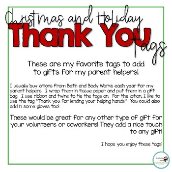 Christmas Thank You Tags For Volunteers By Teaching With Ninjanuity