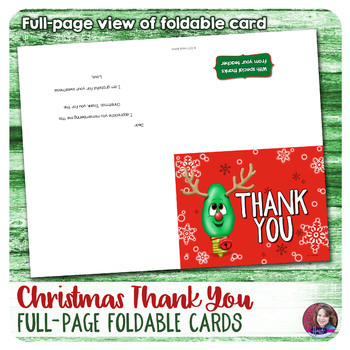 Christmas Thank you Notes - Foldable Full page - Fill-in-the-Blank