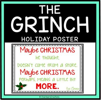 """Christmas """"The Grinch"""" Movie Quote Poster"""