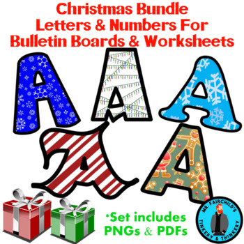 Christmas Theme Bulletin Board Letters And Numbers Clip Art Bundle #2
