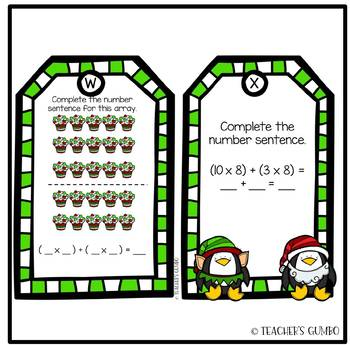 Christmas Distributive Property of Multiplication Task Cards