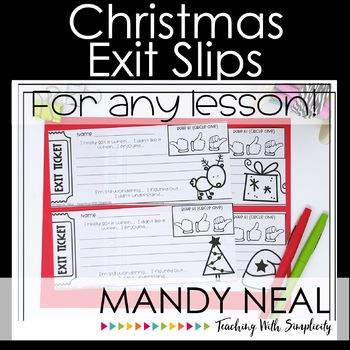 Christmas Theme Exit Slips