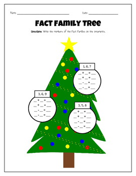 Christmas Theme Fact Families Worksheets