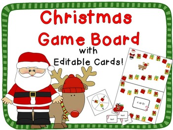 Christmas Theme Game Board {Editable Cards!}