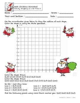 Christmas Theme Graphing Coordinate Plate Fun Activity