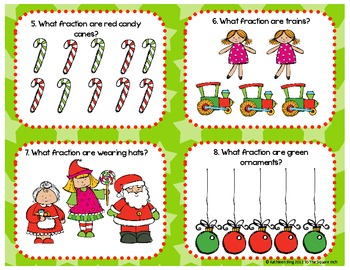 Christmas Theme Identifying Fractions Center