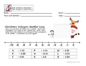 Christmas Theme Integers Number Line Fun Worksheet