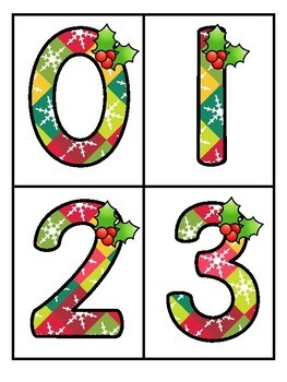 Christmas Theme Large Numbers 0-20 - Make Activities and Room Decor