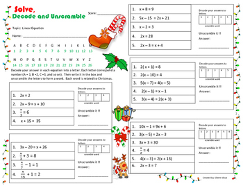 Christmas Theme Linear Equation Solve Decode And Unscramble Fun