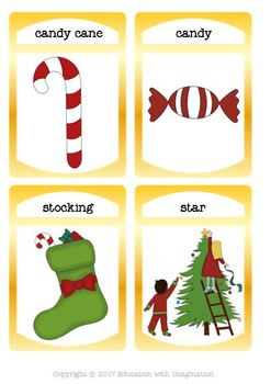 Christmas Theme Make a Sentence Worksheets, Flashcards and File Folder Match
