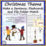 Christmas Theme Make a Sentence Worksheets, Flashcards and