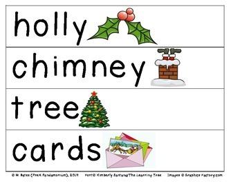 Christmas Theme Pocket Chart Words