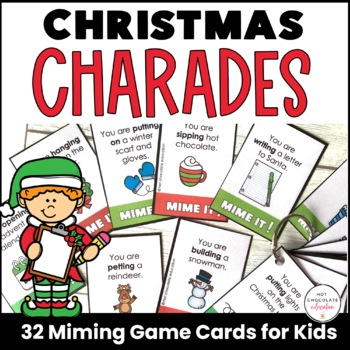 Christmas Theme: Present Continuous Charades -  Action Verbs Miming Game