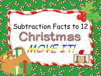 Christmas Theme Subtraction Facts to 12 MOVE IT!
