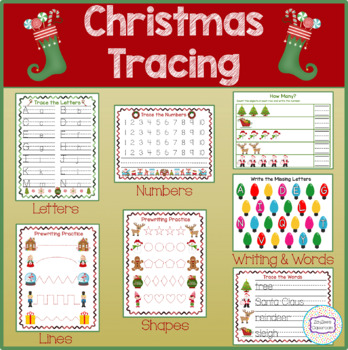 Christmas Theme Tracing, Pre-Writing, Writing Practice
