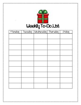 Christmas Theme Weekly To-Do List