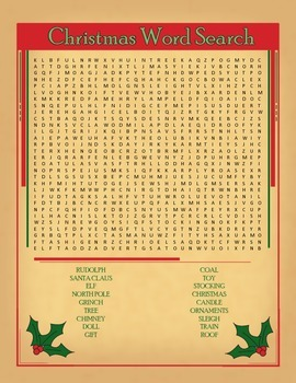 Christmas Theme Word Search