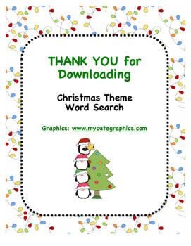 Christmas Theme Word Search