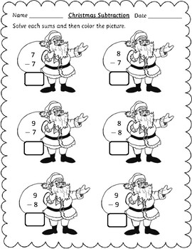 Christmas Themed 1 Digit & 2 Digit Addition and Subtraction Worksheets