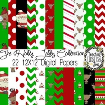 Digital Paper Christmas Themed 12 X12 Collection {Personal