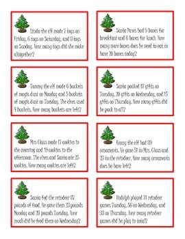 Christmas Themed 2-step Word Problem Task Cards