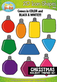 Christmas 2D Icon Shapes Clipart {Zip-A-Dee-Doo-Dah Designs}