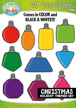 Christmas 2D Icon Shapes Clipart {Zip-A-Dee-Doo-Dah Designs}