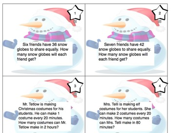 Christmas Themed 3rd Grade enVision Math Questions 30 task cards