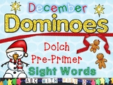 Christmas-Themed Activity: Pre-Primer Sight Word Domino Game