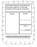 Christmas Themed Addition and Subtraction Story Problems, Kindergarten Version