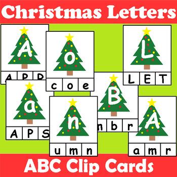 Christmas Themed Alphabet Clip Cards