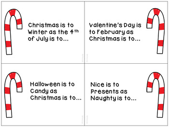 Christmas Themed Analogies for English Language Arts & Speech Therapy