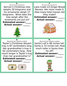 Christmas Themed Around the Room: Add, Subtract, Round