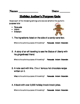 Christmas Themed Author's Purpose Quiz