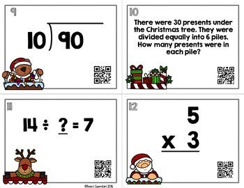 Christmas Themed Basic Multiplication and Division Task Cards with QR Codes