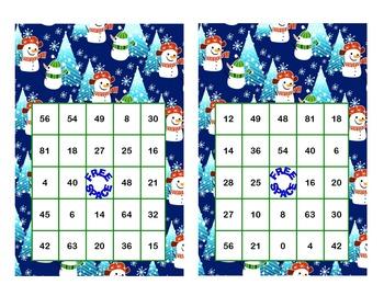 Christmas Themed Bingo Game Multiplication Tables 0-10