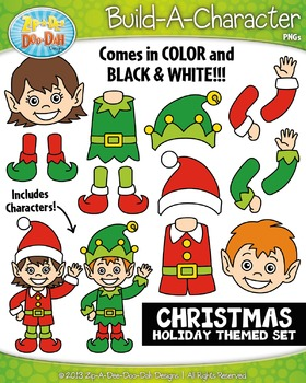 Christmas Themed Build-A-Character Clipart Set — Includes 35+ Graphics!