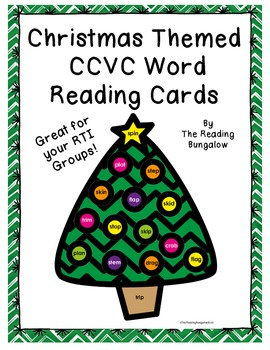 Christmas Themed CCVC Word Reading Cards