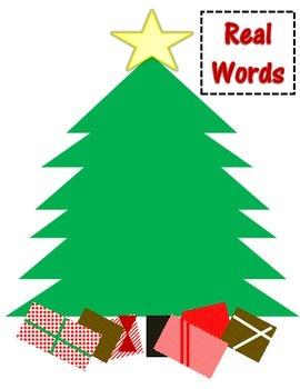 Christmas Themed CVC Real and Nonsense Word Sorting Activity