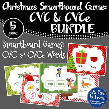 Christmas Themed CVC and CVCe Words BUNDLE of Smartboard/Promethean Board Games!