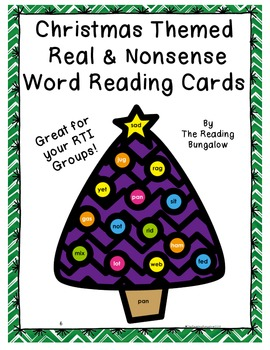 Christmas Themed CVC and Nonsense Word Reading Cards {Great for DIBELS}