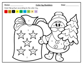 Christmas Themed Color by Number Worksheets