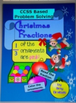 "Christmas Themed ""Color the Ornaments"" Fraction Problem So"