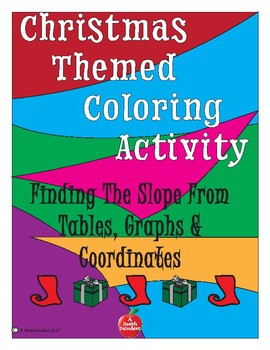 Christmas Themed Coloring Activity Finding Slope from tables, points and graphs