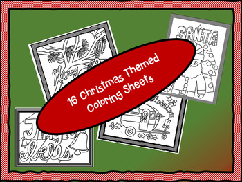 Christmas Themed Coloring Sheets by Stacey Hickman | TpT