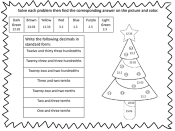FREEBIE Holiday Themed Color By Number Activity Sheets Fourth Grade