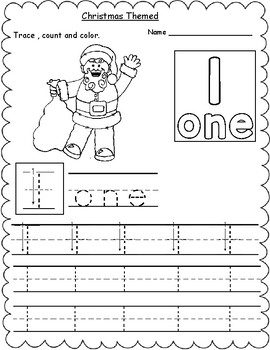 Christmas Themed Count, Trace & Color Numbers 1-10