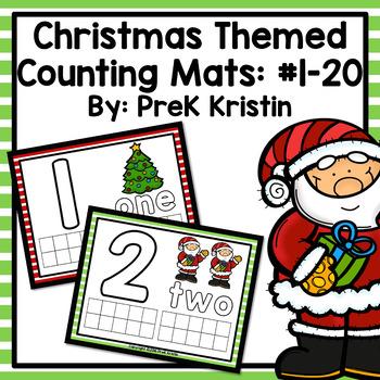 Christmas Themed Playdough (Counting) Mats: #1-20