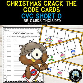 Christmas Themed Crack the Code Cards - CVC Short O